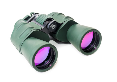 forward: Tourist binoculars. Photo on a white background