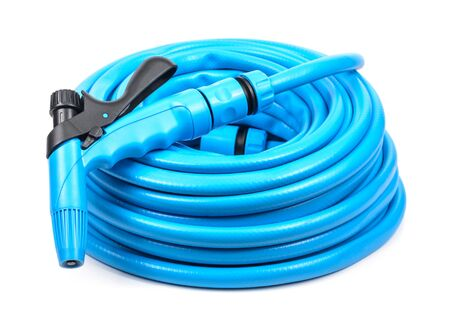 drench: Garden hose with a sprayer. Microstock photography for over a white background