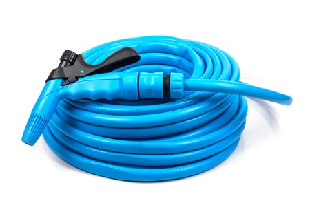 plastic conduit: Garden hose with a sprayer. Microstock photography for over a white background
