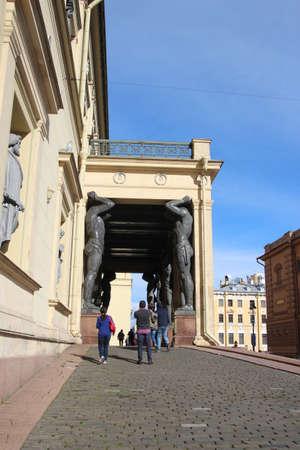 View to Atlantes in hermitage palace.Saints-Petersburg