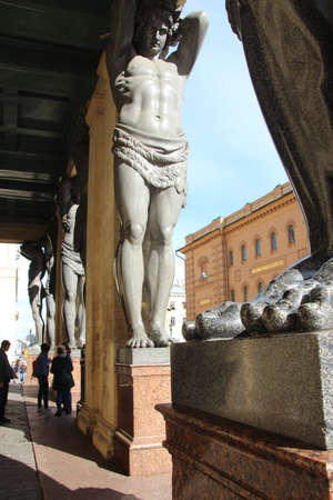 View to Atlantes in hermitage . Saints-Petersburg