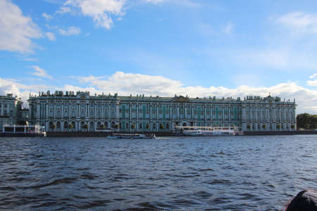 Hermitage view from the Neva River. Classic building Saints Peterburg