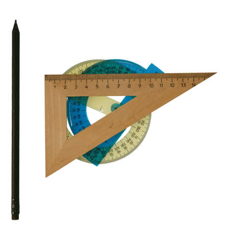 the wooden ruler without background Stockfoto