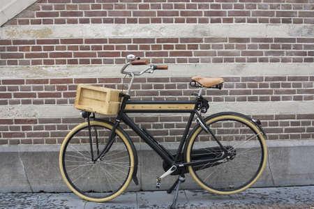 Wooden bike in a Dutch town Editorial