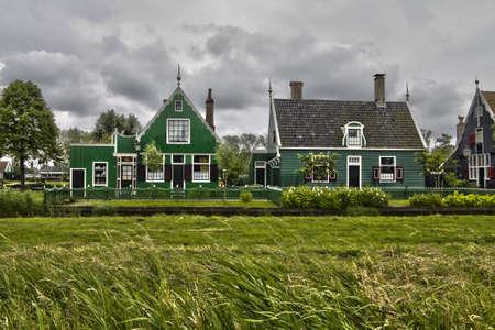 Wooden houses in Zaanse Schans Stock Photo