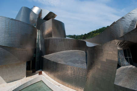 Metal curves of the Guggenheim Museum Bilbao