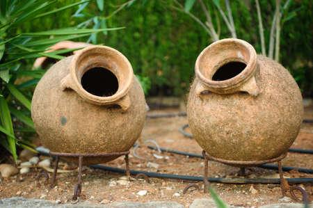 Earthenware jar in garden Spain