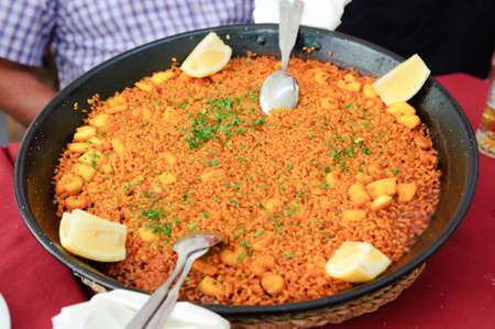Traditional Spanish seafood paella  arroz a banda  Stock Photo