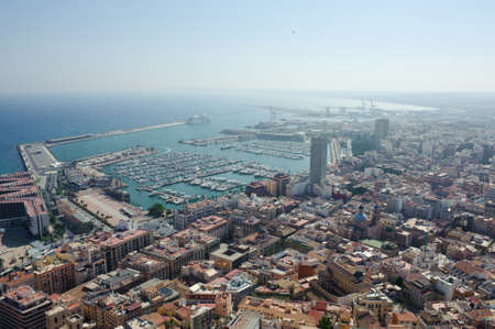 Aerial view of Alicante at dusk.