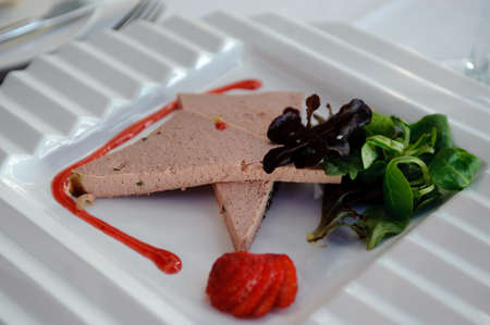 Slices of pate with vegetables