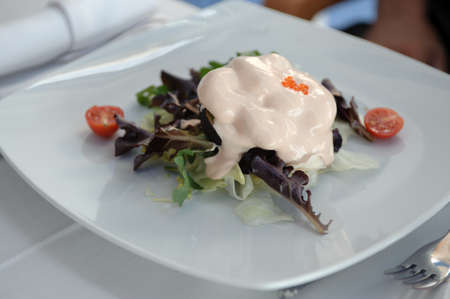 salad with shrimp, avocado and tomato Stock Photo