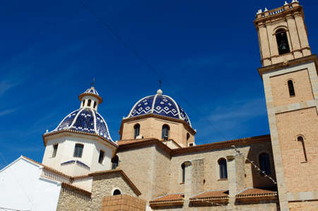 altea: Detail of the main church of Altea, located in the Costa Blanca of Spain, with blue domes Stock Photo