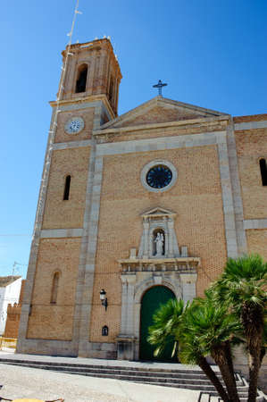 altea: Detail of the main church of Altea, located in the Costa Blanca of Spain, with a green door