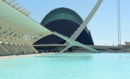 infamous: Valencia, Spain - September 16, 2012: Modern architecture and public spaces of the infamous City of Arts and Sciences during summer Editorial