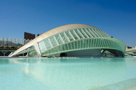 Valencia, Spain - September 16, 2012: Modern architecture and public spaces of the infamous City of Arts and Sciences during summer Editorial