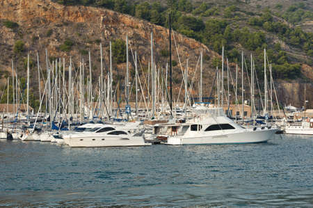 yachts anchored in the port of Javea