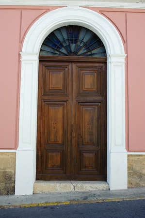 Wooden door in a mediterranean house