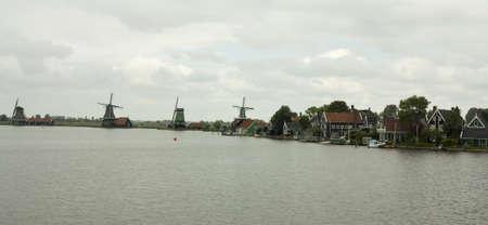 Windmills of the Zaanse Schans, Holland Stock Photo