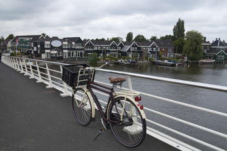 Bicycle parked on bridge, Zaanse Schans