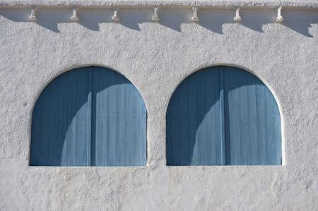 Wooden windows in Mediterranean house, Cala Granadella-Javea  Spain  Stock Photo