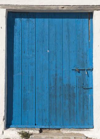 Wooden door in Mediterranean house, in Cala Granadella-Javea  Spain  photo