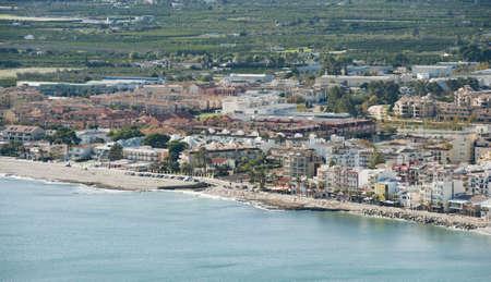 Views of Javea town from La Plana Windmills.  Stock Photo