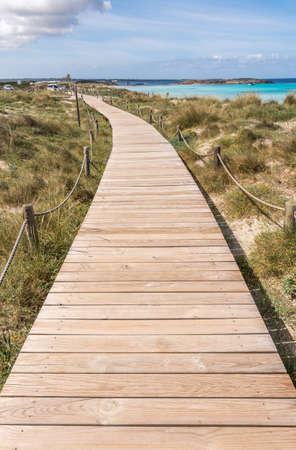Beach way to Illetes beach in Formentera Balearic islands Stock Photo
