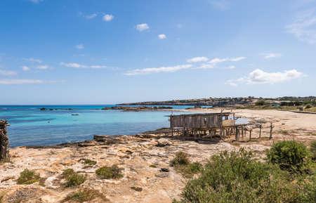 Es Pujols port in Formentera island wooden boat railways photo