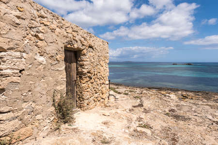 pujols: Es Pujols port in Formentera island antique house and door