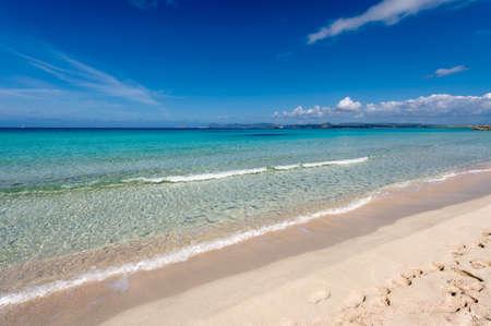 Illetes beach in Formentera island, Mediterranean sea, Spain Stock Photo
