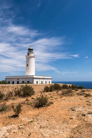 Formentera La Mota lighthouse balearic islands mediterranean Sea Stock Photo