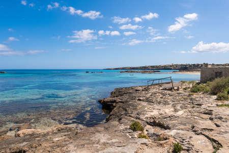 Els Pujols coastline in Formentera island, Mediterranean sea, Spain photo