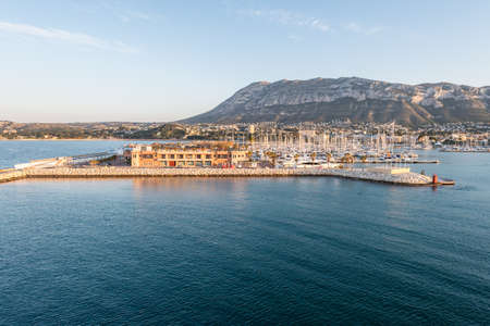 mongo: Alicante Denia port marina and Montgo in mediterranean sea of Spain Stock Photo