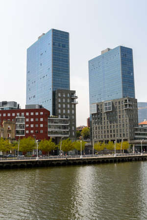 BILBAO, SPAIN - JULY 19  view of Isozaki towers, in Bilbao, Spain, on July 19, 2013  Towers were designed by Arata Isozaki Editorial