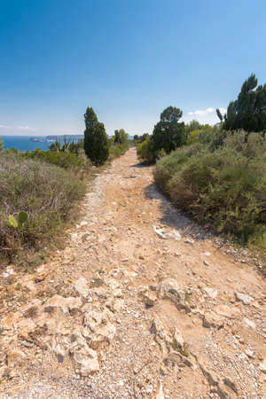 Stone footpath in the mountains leading to down, Javea