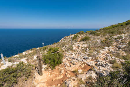 Sailboat and views of Javea sea from San Antonio Cape, Spain
