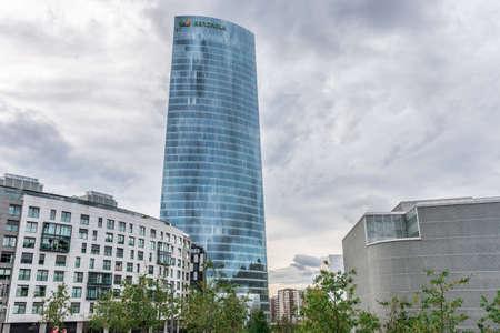 BILBAO, SPAIN - OCTOBER 1  Iberdrola Tower headquarters, in Bilbao, Spain, on October 1, 2013  The tower was designed by architect Caesar Pelli in 2011