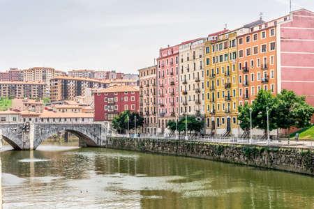 San Anton bridge and Nervion river in Bilbao, Spain