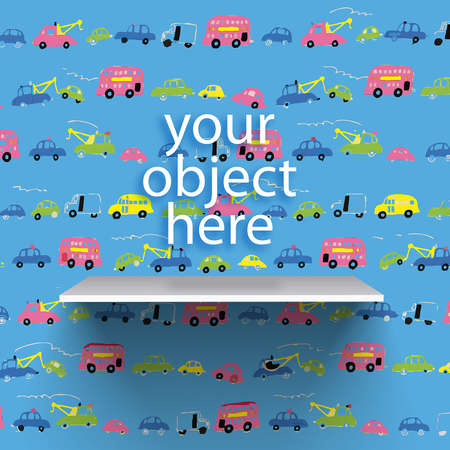 Vector bookshelf over childish background with little cars pattern Vector