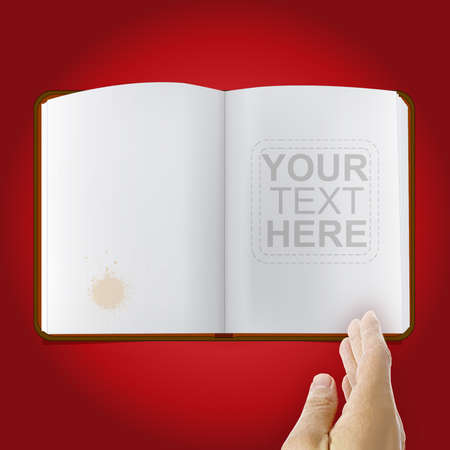 Nice vector book with a realistic vector hand over red gradient background Vector