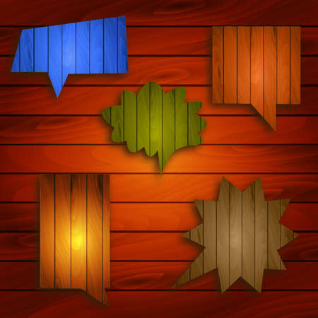 Wooden background and colorful timber bubble speeches Stock Vector - 17820114