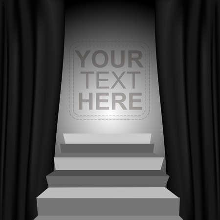Theater style vector curtains and steps over gradient background