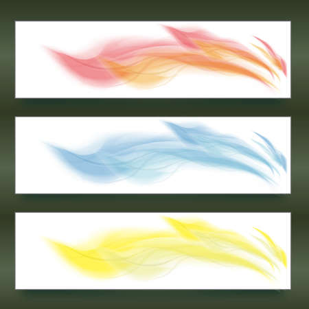 Three different color banners design decorated with fire style Vector