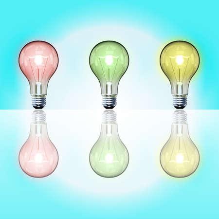 scriibble: Vector light bulbs over light blue gradient background
