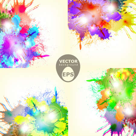 Four different colorful abstract paint splash vector background with some lights and brights effects Stock Vector - 18386043