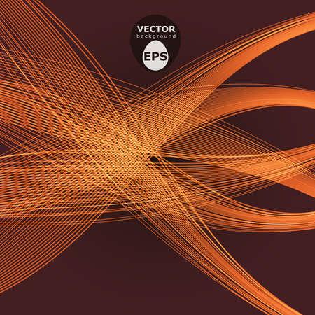 Abstracte oranje lijnen vector golven over donkere bruine achtergrond