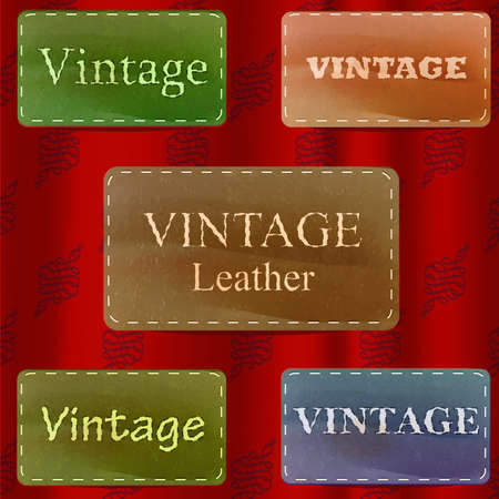Vintage style leather vector labels over red majestic pattern curtain Vector