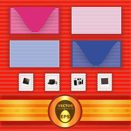 Collection of different envelopes and stamps with different vintage items and gold badge over red stripes background Stock Vector - 18386019