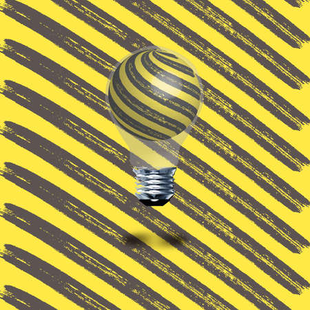 idea hurdle: Under construction style vector background with a black and yellow light bulb