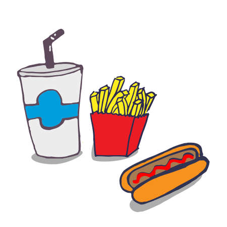 Vector handmade drawing cool drink, fries and a hot dog Illustration